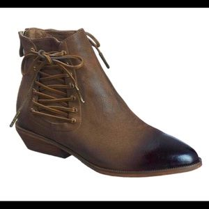 Khaki burnished leather ankle bootie
